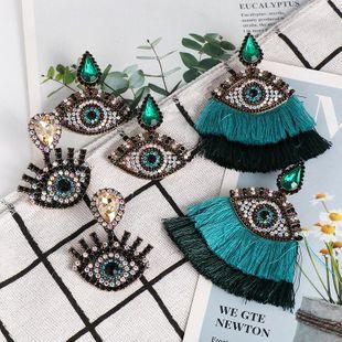 New Diamond Eye Tassel Earrings Devil's Eye Earrings NHJJ184681's discount tags