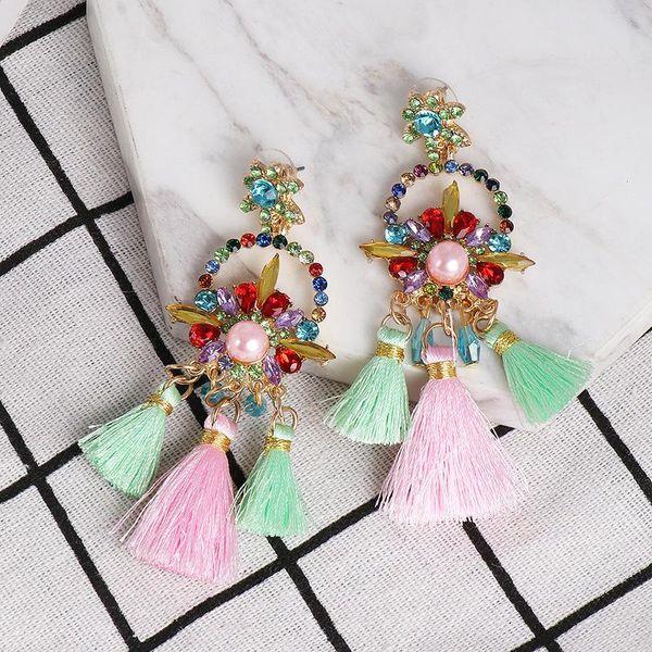 Women's bohemian earrings earrings flowers tassel color accessories women NHJJ184686