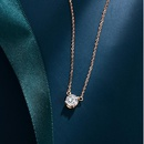 Titanium Steel Plated 18K Rose Gold Color Gold Single Diamond Necklace Womens Short Clavicle Chain NHIM184516
