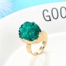 Personalized oval color ring gold ring imitation natural stone resin adjustable ring NHGO184722