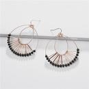 Jewelry earrings copper wire double drop glass crystal beads fanshaped female earrings NHLU184624