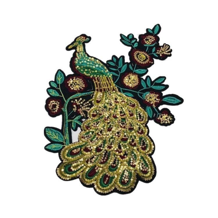 DIY embroidered sequin peacock cloth stickers new decorative clothes patches oversized embroidery cloth stickers NHLT184819