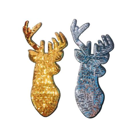 Long Sheng Christmas sequins deer beads embroidered fairy deer embroidered sweater T-shirt decoration stickers NHLT184820's discount tags