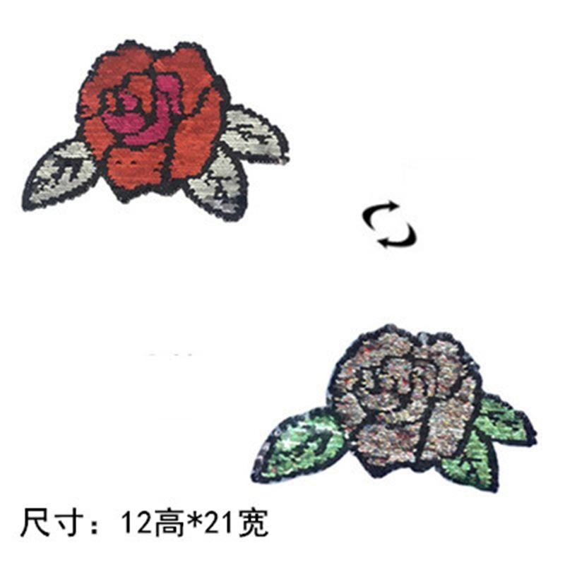 Peony flower doublesided sequin cloth sticker can be reversed color change sequin rose cloth sticker bag accessories NHLT184853