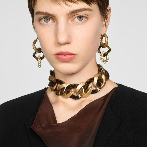 Aleación de acrílico collar joyería collar de moda collar creativo accesorios mujeres NHMD185016