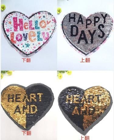 New color changing beads embroidery cloth stickers flip double-sided sequin embroidery chapter peach heart English patch stickers NHLT184804