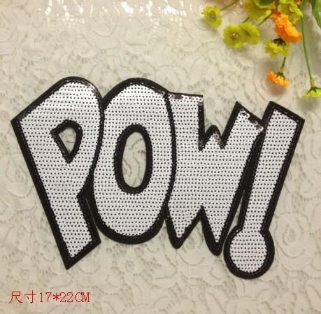Sequins chapter POW English sequins alphabet cloth stickers patch stickers clothing accessories women's T-shirt clothing match NHLT184808