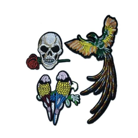 Rose Skull Phoenix Couple Love Bird Exquisite Embroidery Cloth Stickers Clothing DIY Decorative Patch NHLT184812's discount tags