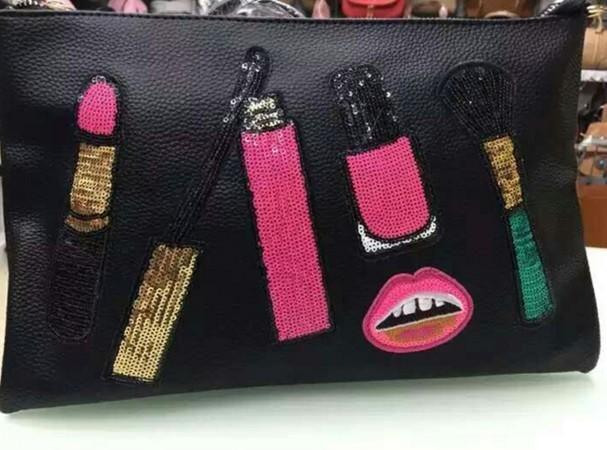 Decorative four-piece lipstick mascara cloth sequins embroidered sequin stickers clothes decorative stickers NHLT184811