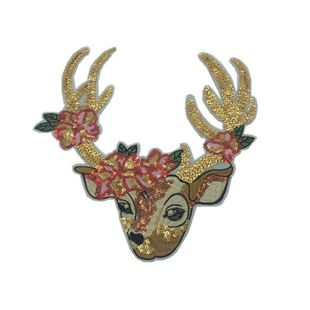 Sequins cute Christmas deer children's clothing cartoon decoration women's sequins computer embroidered cloth stickers NHLT184821's discount tags