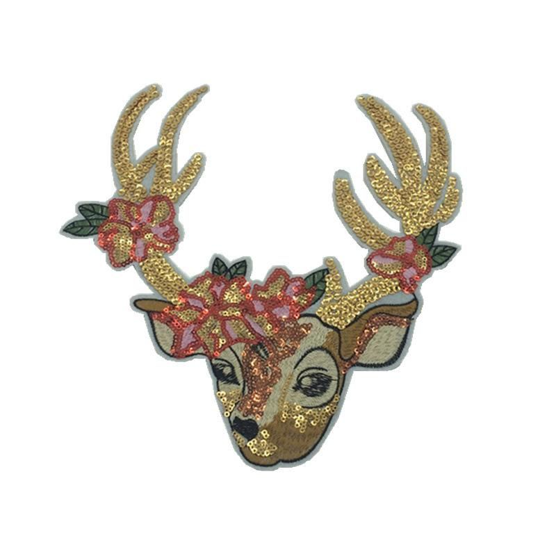 Sequins cute Christmas deer children's clothing cartoon decoration women's sequins computer embroidered cloth stickers NHLT184821