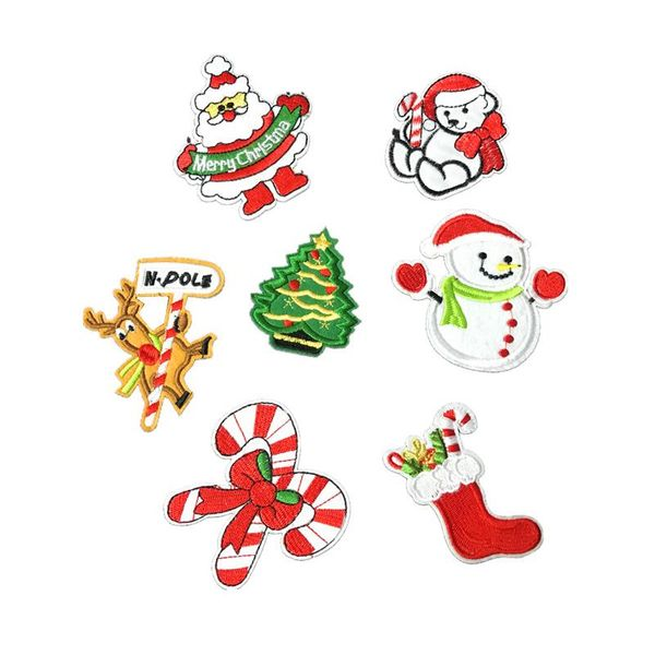 Santa snowman series embroidery cloth stickers computer embroidery stickers custom Christmas patch NHLT184822