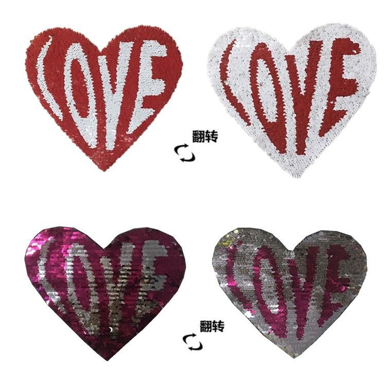 Clothing accessories color changing beads embroidery cloth stickers flip sequins embroidery patch stickers peach heart patch NHLT184824
