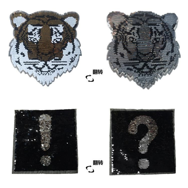 Tiger Exclamation Flip Rectangular Sequin Cloth Paste Clothes Patch Sticker Clothing Accessories Reversible Sequin Cloth NHLT184829