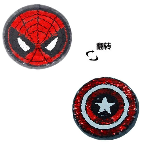 Children's clothing AB surface double-sided can flip Captain America Spider-Man embroidered cloth stickers NHLT184833