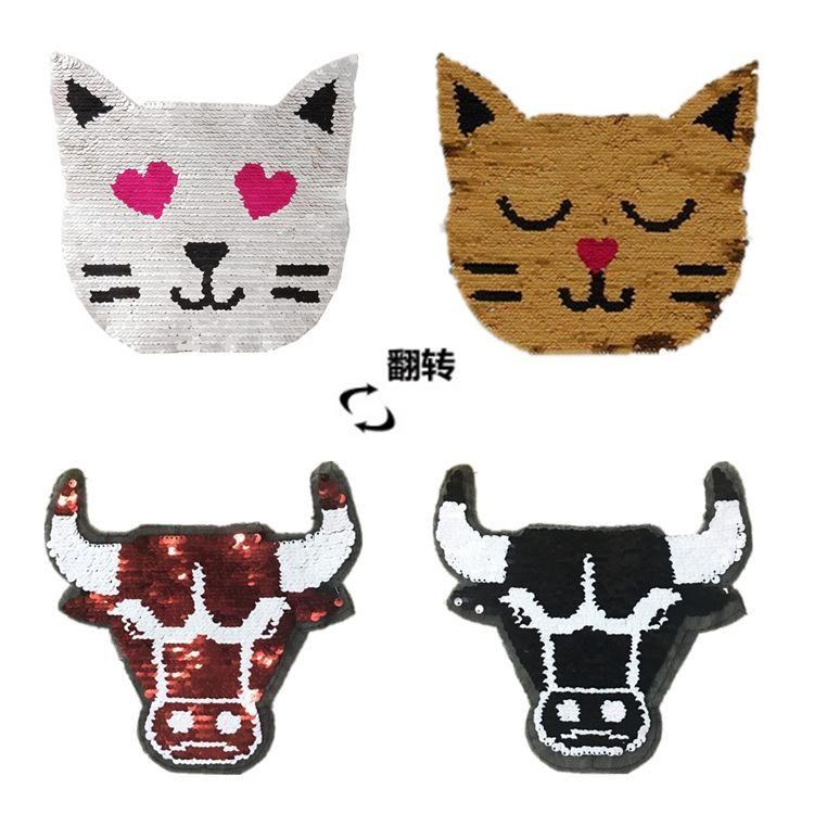 Cat Flip Bull Head Gradient Sequin Cloth Sticker Flip Double Sequin Patch Patch NHLT184852