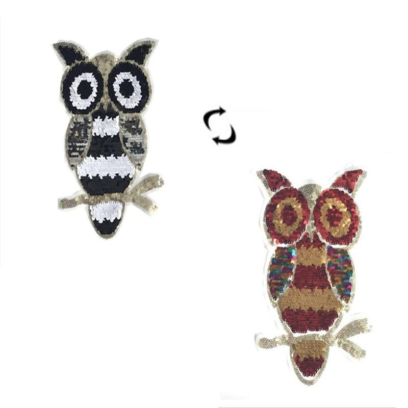 Color-changing owl AB face flip embroidered beaded piece of cloth stickers decorative clothing flip sequins double-sided cloth stickers NHLT184854
