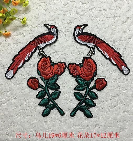 Embroidery bird rose flower delicate cloth paste clothes decorative patch patch hole applique diy accessories NHLT184862