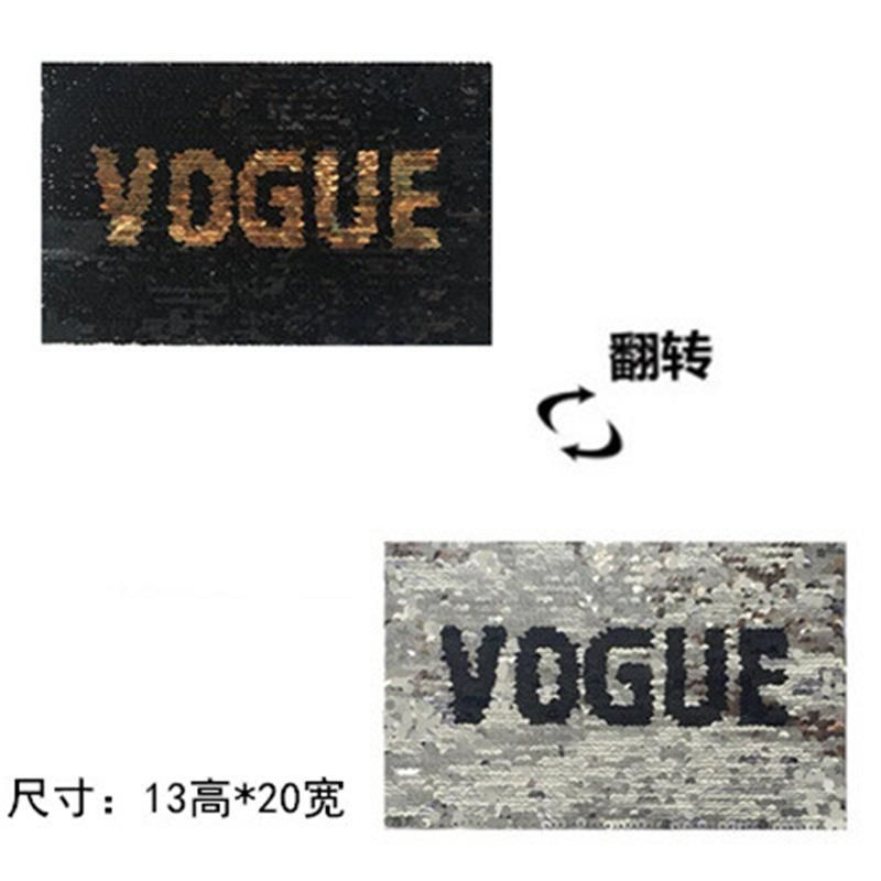 Sequin cloth stickers double-sided sequins English cloth stickers can be reversed color change sequin clothing with decorative patch NHLT184861