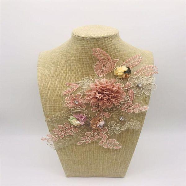 Beaded embroidery three-dimensional flower short sleeve T decorative lace handmade flower paste NHLT184896