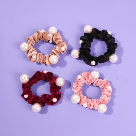 Accesorios para el cabello de albóndiga salvaje de moda de color perla de terciopelo dorado y europeo NHMD184962's discount tags