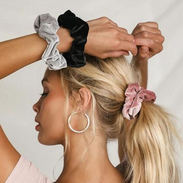 Fashion new hair ring solid color silky satin large bowel ball hair decoration hair rope NHMD184968