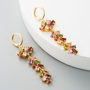 Hot fashion copper inlaid colorful zircon earrings Jurchen gold personality temperament four-leaf clover fringe long earrings NHLN184952's discount tags