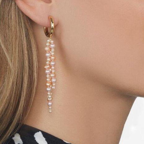Aretes para mujer largos con borlas de perlas coloridas colgantes de metal Pendientes hechos a mano creativos personalizados NHMD184998's discount tags