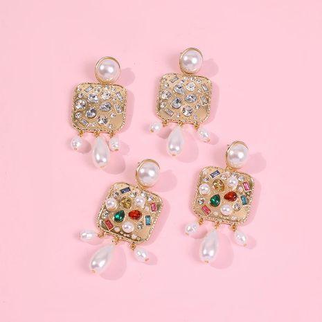 Aretes para mujer de perlas pendientes de diamantes de aleación cuadrados exagerados  NHMD185000's discount tags