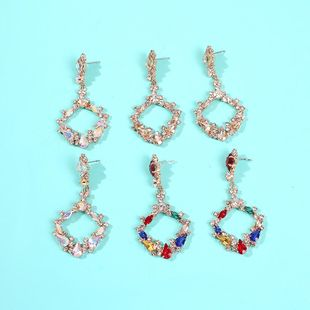 Exaggerated new exquisite banquet geometric colorful rhinestone diamond cutout square earrings NHMD185002's discount tags