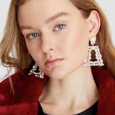 Hot atmosphere earrings with rhinestones super flash geometric gemstone earrings for women NHMD185013's discount tags