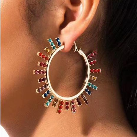 Large hoop colorful exaggerated earrings cutout circle earrings NHMD184965's discount tags