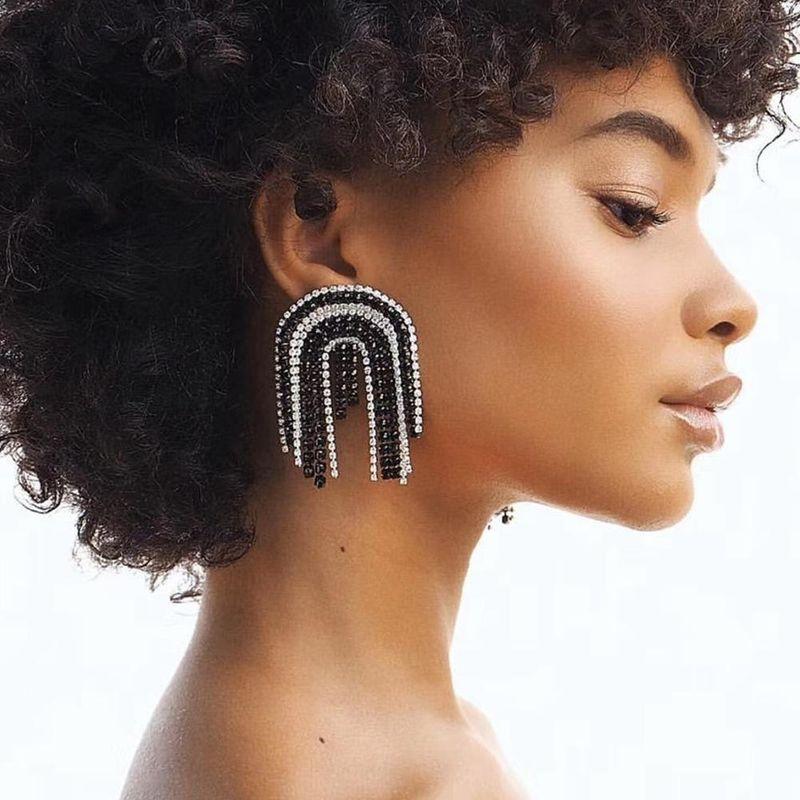 Exaggerated long fringe flash diamond temperament fashion personality earrings NHMD184971