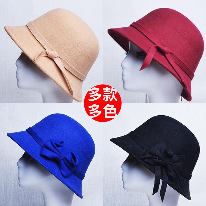 Nuevo retro jazz hat casual top hat sombreado wild wide brim wool hat NHXB184942