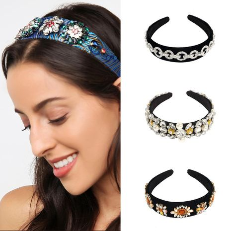 Luxury hairband fashion temperament diamond runway catwalk hairband NHMD184966's discount tags