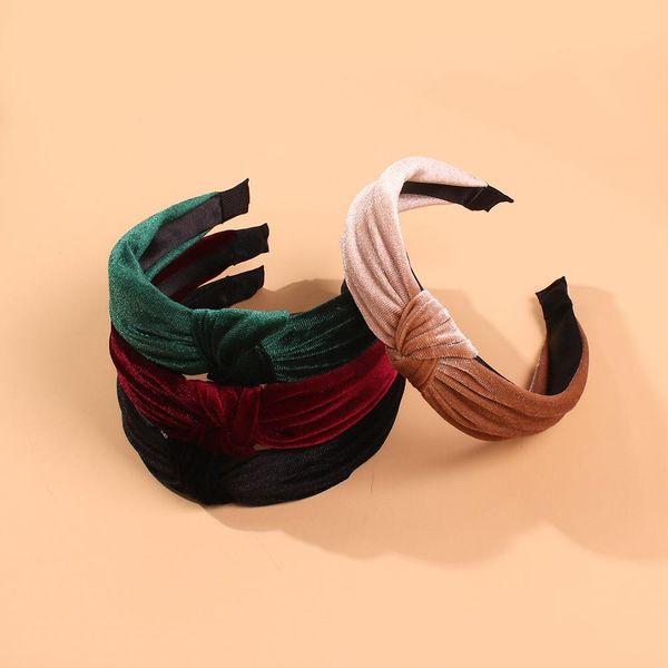 Knotted headband female European and American simple hair hole card NHMD184975