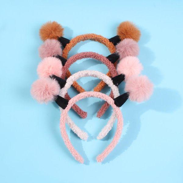 Diadema de orejas de conejo linda diadema de felpa femenina máscara de diadema salvaje simple banda para el cabello antideslizante NHMD184982