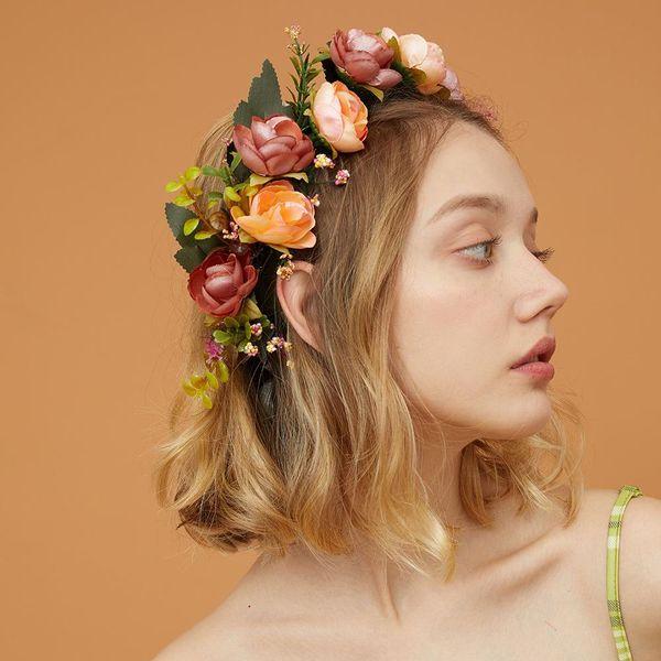 Hot sale bride wreath flower hair accessories wedding photography hair hoop NHMD185008