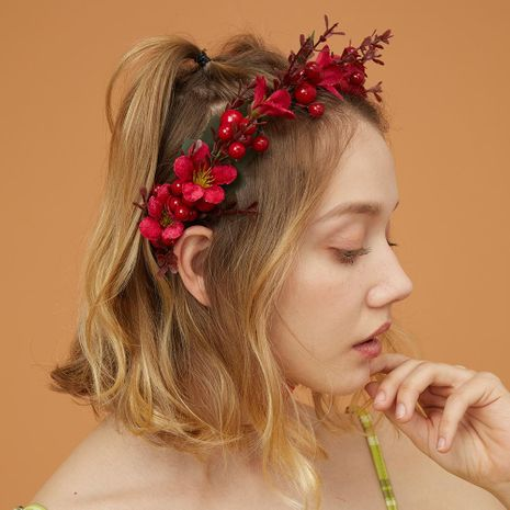 New red wedding accessories flower bride photography hair hoop headdress women NHMD184990's discount tags