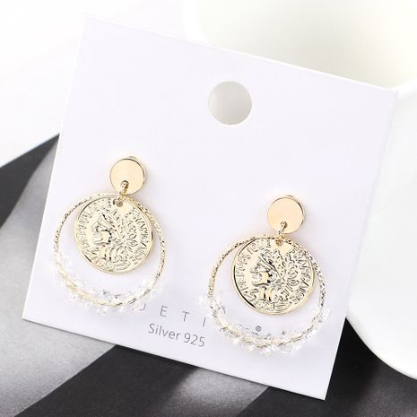 European and American fashion creative wild gold-plated simple personality retro head seal large circle hollow S925 silver needle NHPS185023's discount tags