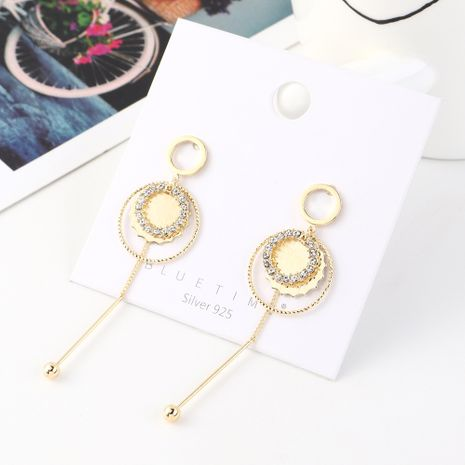 Korean fashion temperament big brand real gold-plated personality fringed small circle S925 silver needle NHPS185024's discount tags