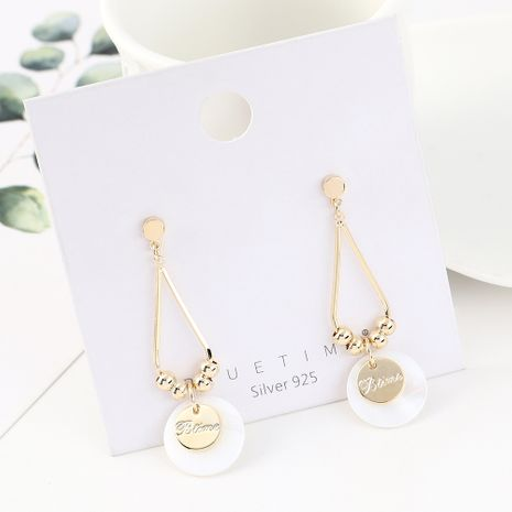 Korean version of simple and stylish wild gold-plated temperament small fresh small disc S925 silver needle NHPS185025's discount tags