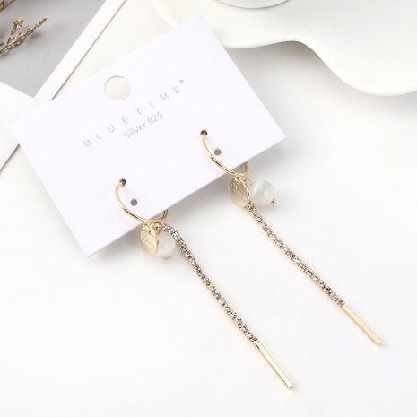 Korean version of the atmospheric fashion long gold-plated tassel wild temperament glass beads S925 silver needle NHPS185027's discount tags