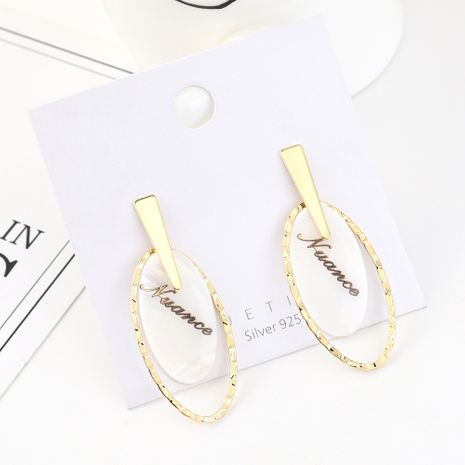 Korean version of simple personality temperament gold-plated fashion wild resin alphabet oval S925 silver needle NHPS185029's discount tags