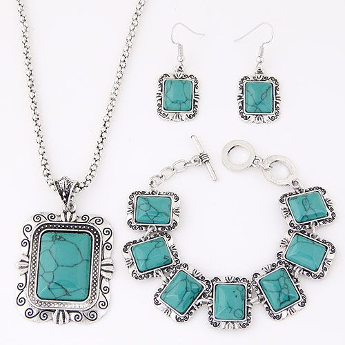 European and American metal inlaid turquoise cube temperament necklace earrings bracelet set NHSC185117