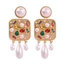 Pearl earrings women exaggerated square alloy diamond stud earrings NHMD185000