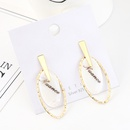 Korean version of simple personality temperament goldplated fashion wild resin alphabet oval S925 silver needle NHPS185029
