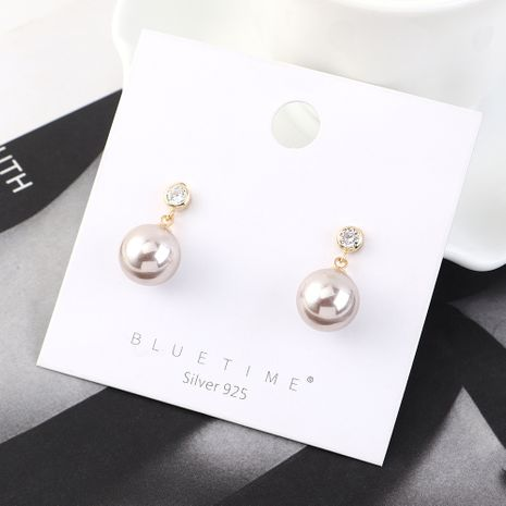 Simple small fresh wild gold-plated fashion retro ball pearl S925 silver earrings NHPS185032's discount tags