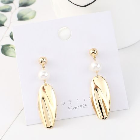 Simple retro fashion plated real gold pearl lotus leaf S925 silver earrings NHPS185035's discount tags