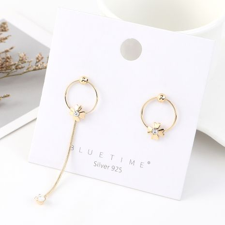 Fashion exaggerated creative gold-plated wild temperament small four-leaf flower S925 silver earrings NHPS185037's discount tags